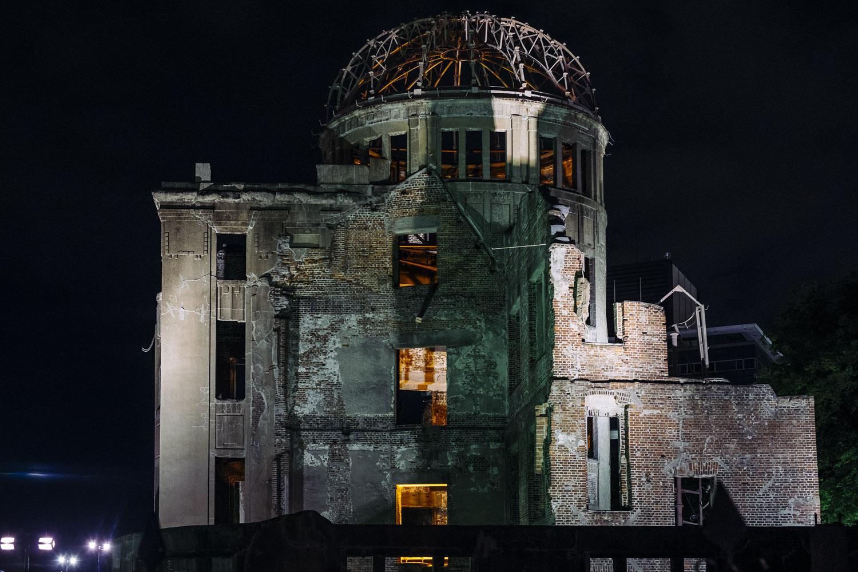 The A-Bomb dome at night, Hiroshima.