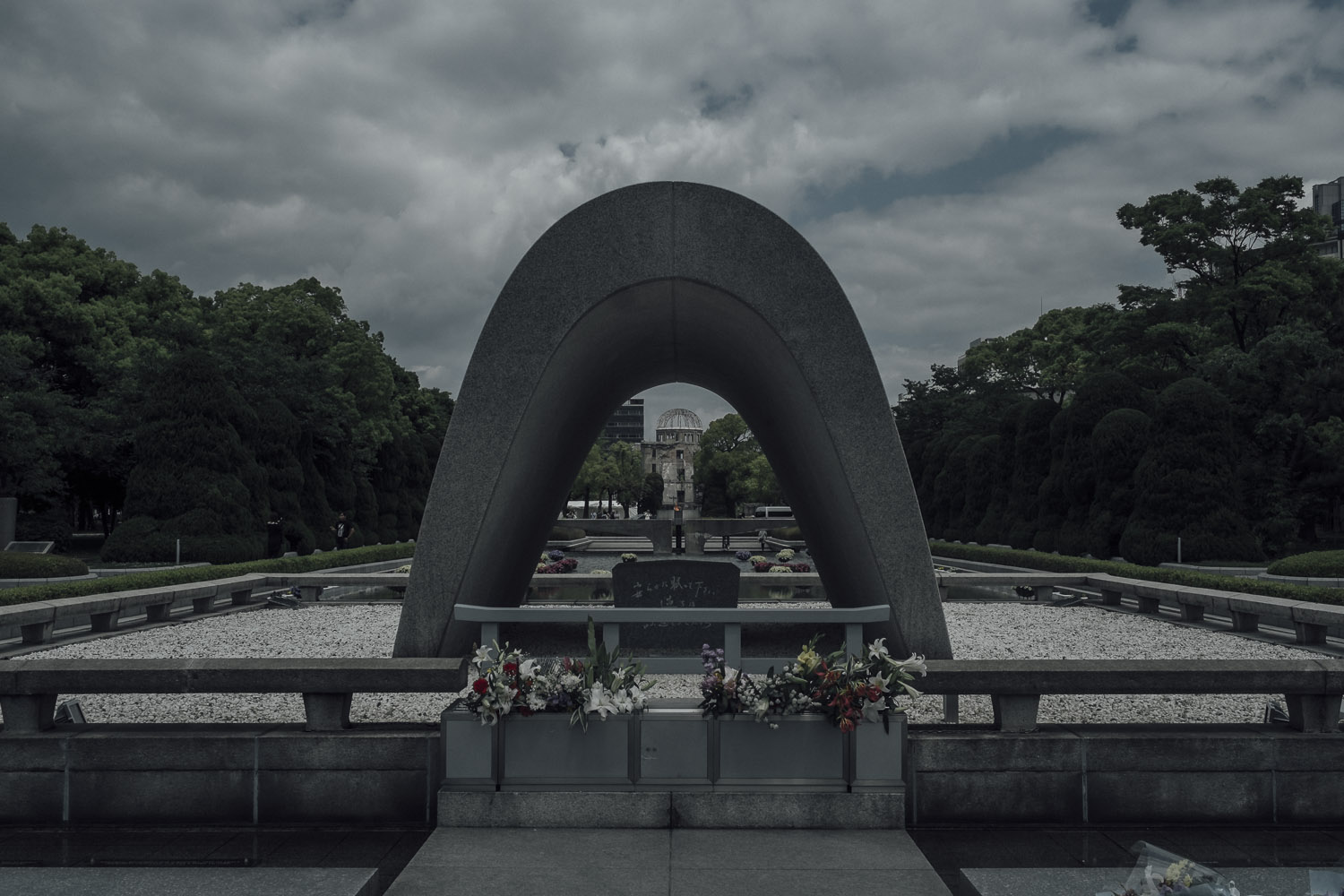 A-Bomb Dome as seen from the Peace Memorial.