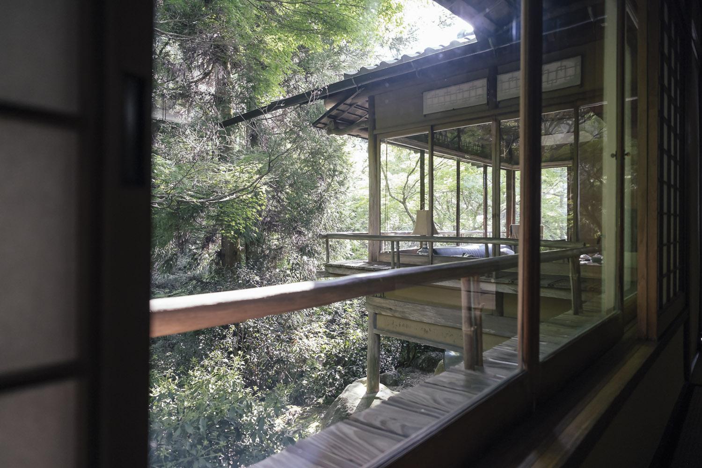 The sun room as seen from the dinning room at ryokan Iwaso, Miyajima.