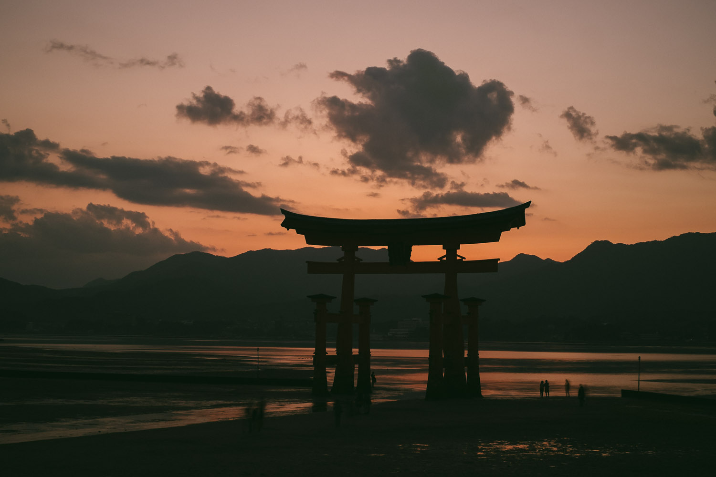 Itsukushima torii at dusk and low tide, Miyajima.