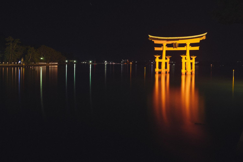 Itsukushima torii at night and high tide, Miyajima.