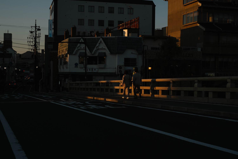Sunset on one of Matsue's many bridges.