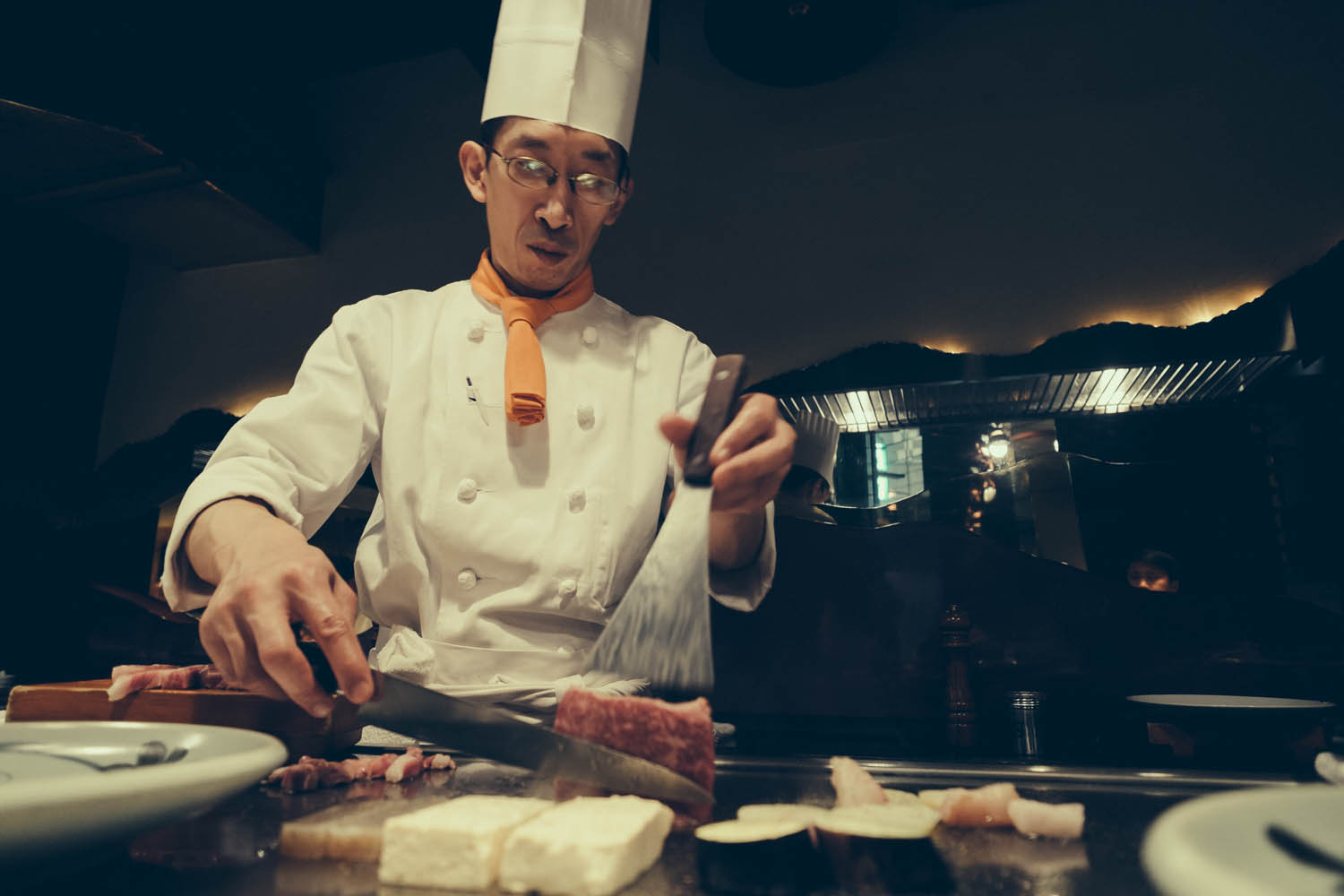 Chef searing and presenting the mouth watering Kobe beef, Kobe.