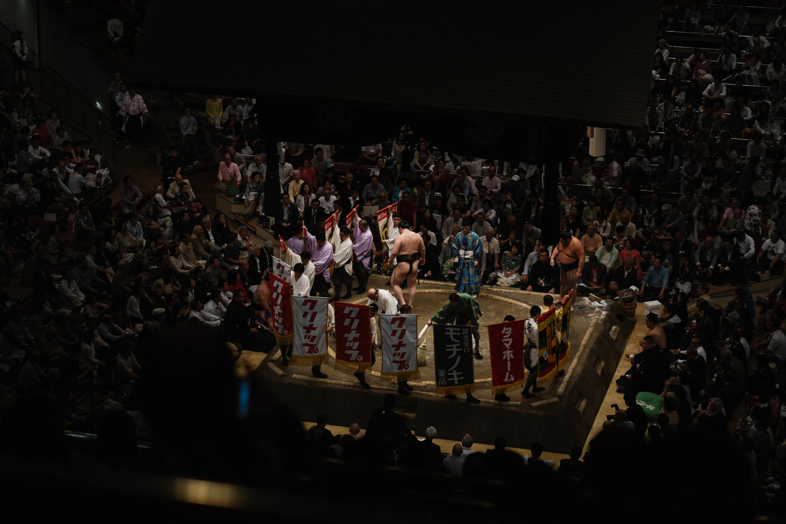14 flags. $7000 purse for this fight alone. Sumo tournament, Tokyo.
