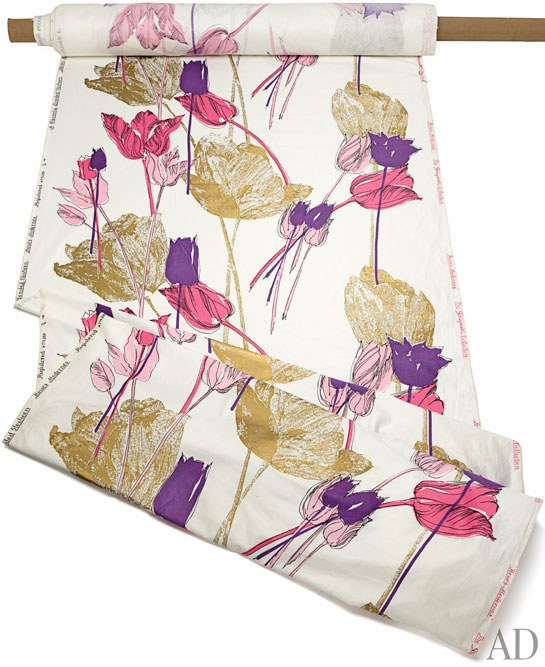 "The ""Fleurs Modernes"" print from the Schiaparelli for Waverly Collection. Image courtesy of  Architectural Digest"