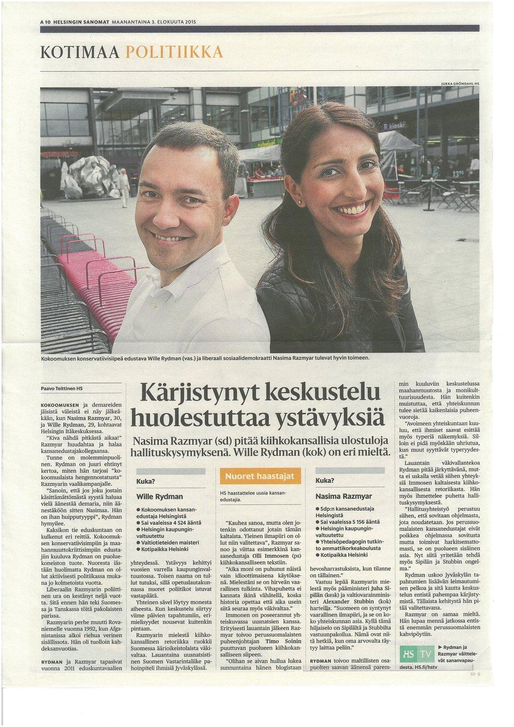 KÄRJISTYNYT KESKUSTELU HUOLESTUTTAA YSTÄVYKSIÄ - Helsingin Sanomat 03.08.2015