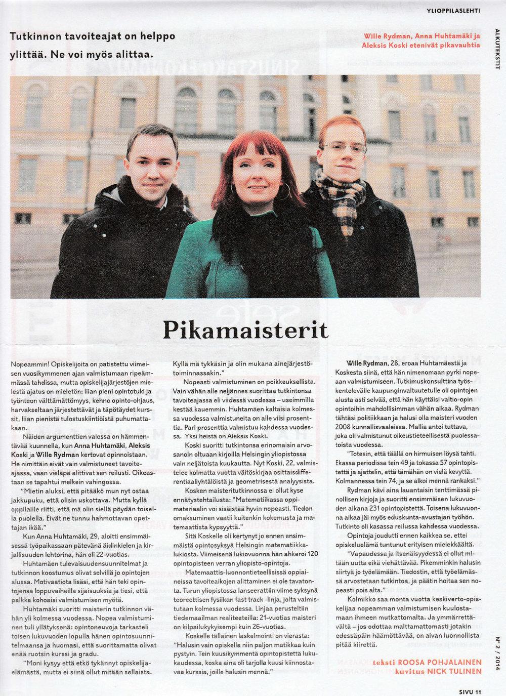 PIKAMAISTERIT - Ylioppilaslehti 07.03.2014