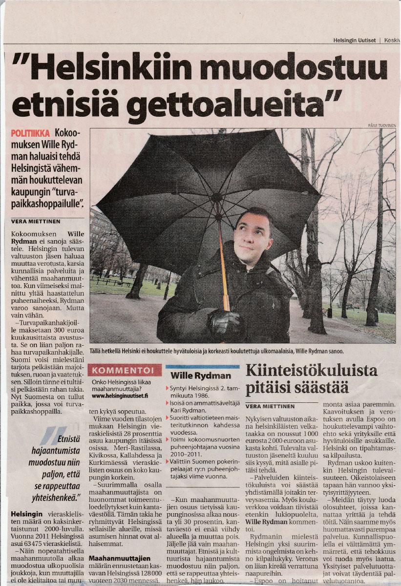 """""""HELSINKIIN MUODOSTUU ETNISIÄ GETTOALUEITA"""" - Helsingin Uutiset 21.11.2012"""