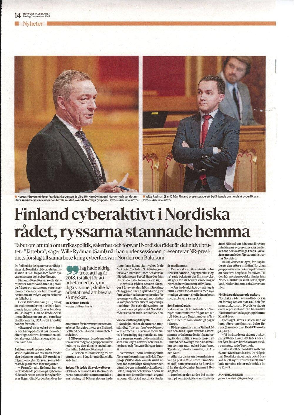Finland cyberaktivt i Nordiska rådet, ryssarna stannade hemma - HBL 2.11.2018