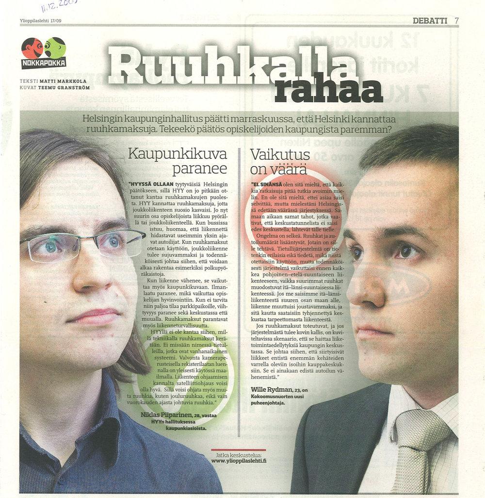 """""""RUUHKALLA RAHAA"""" - Ylioppilaslehti 11.12.2009"""