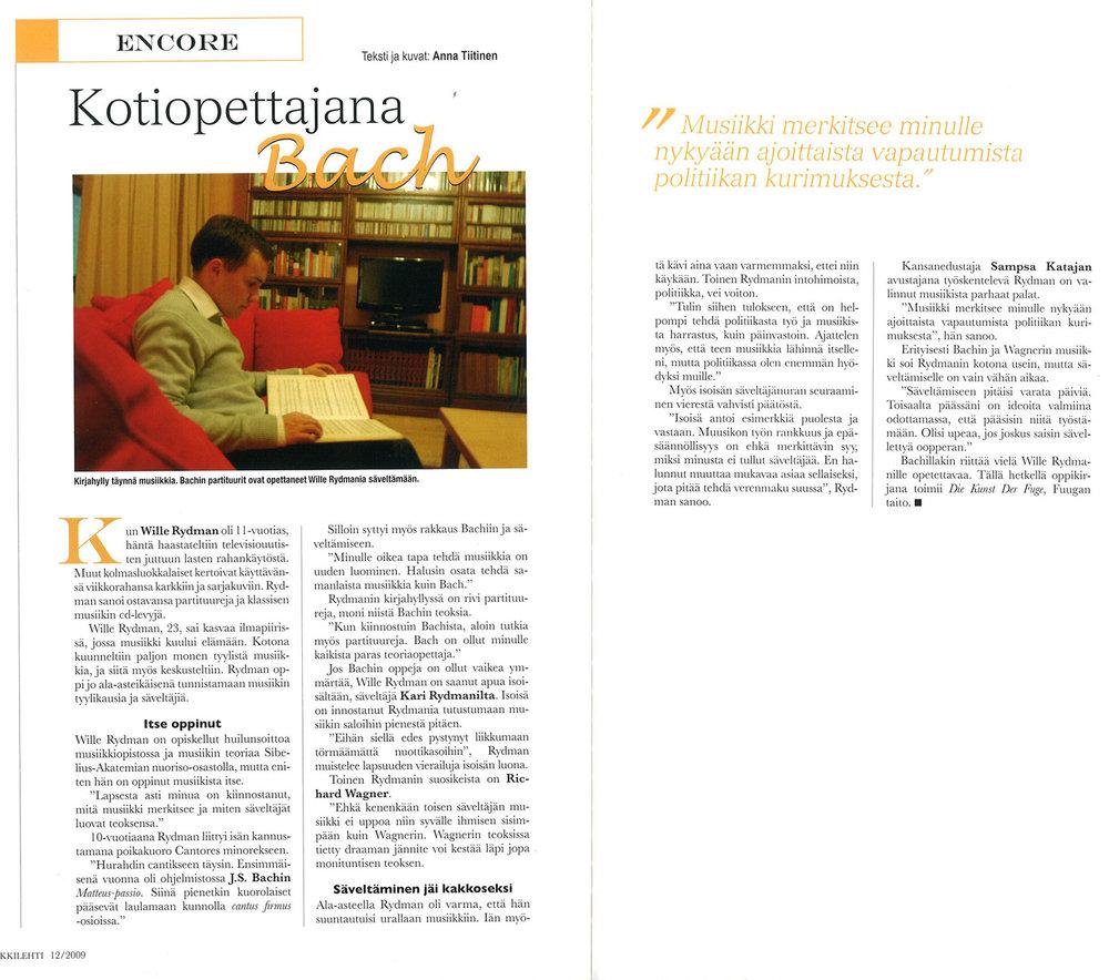 """""""KOTIOPETTAJANA BACH"""" - Musiikkilehti Rondo: 1.12.2009"""