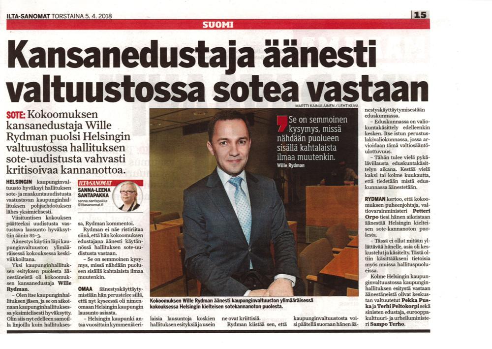 Kansanedustaja äänesti valtuustossa sotea vastaan - llta-Sanomat 5.4.2018