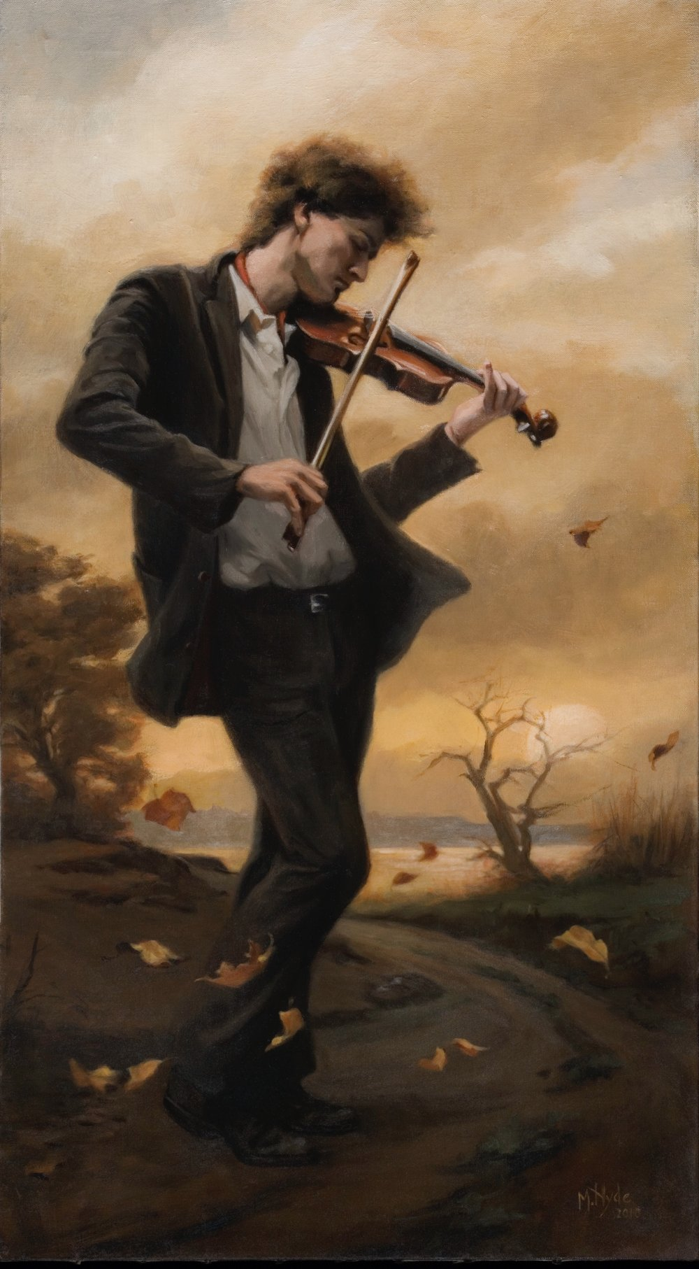 The Fiddler , Oil on canvas, 100 x 50cm, 2010