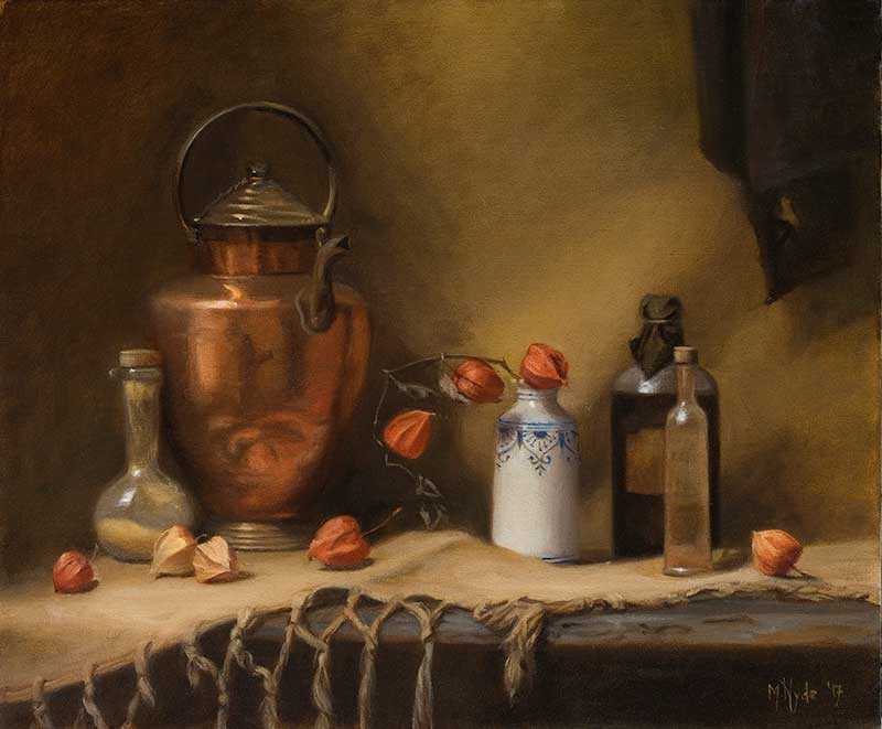 Brass Water Carrier with Chinese Lantern Flowers  oil on linen 50 by60 cm. 2017  SOLD