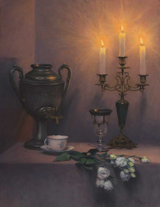 Fading daylight into Candlelight   oil on linen 65 by 50 cm. 2016