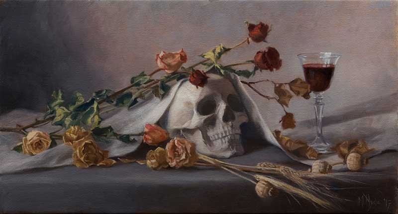 Vanitas with Wine and Dried Roses  oil on linen 35 by 65 cm. 2017