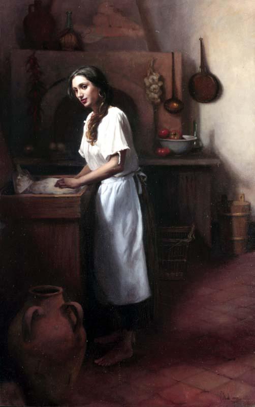 Impastare Il Pane  (Making Bread)  oil on canvas cm. 135 x 85  SOLD