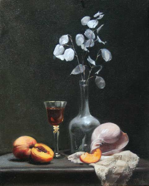 Brandy, a Shell and Peaches  oil on linen cm. 50 by 40 2010  SOLD