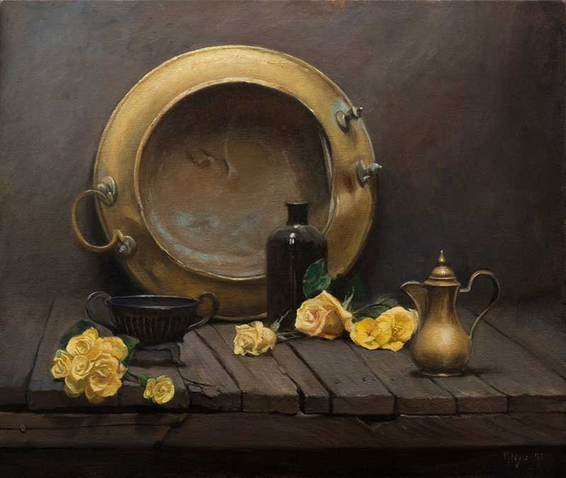 Brazier with Yellow Flowers  oil on linen 55 by 65 cm. 2017