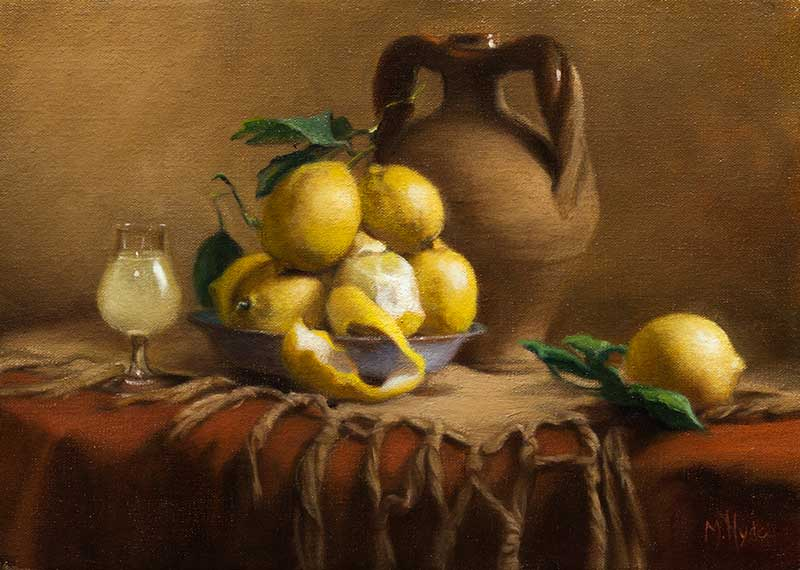 Limoncello and Lemons  oil on linen 25 by 35 cm. 2015  SOLD