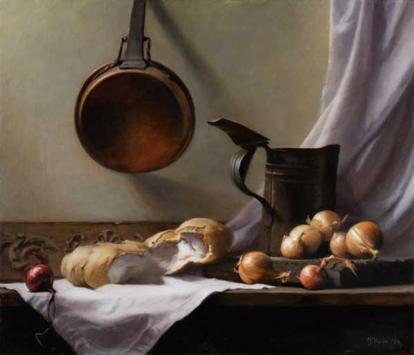 Pane e cipolle II  oil on linen cm. 55 by 70 2009  SOLD