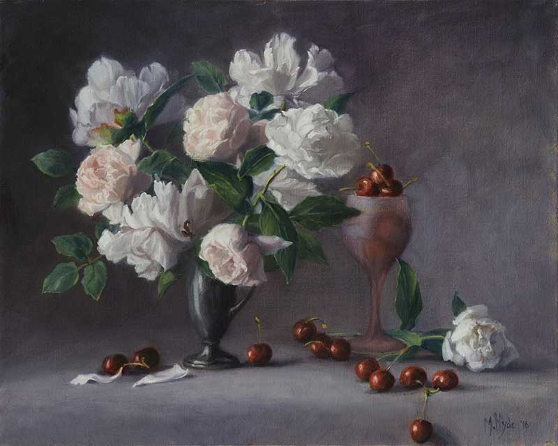 Peonies, Roses and Cherries  oil on linen 40 by 50 cm. 2016  SOLD