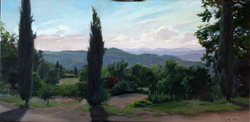 Evening Light, Capitignano  oil on linen cm. 30 x 60 2011  SOLD