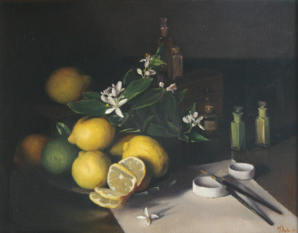 Lemons and Watercolors  45 by 55 cm. 2003 Oil on linen  SOLD