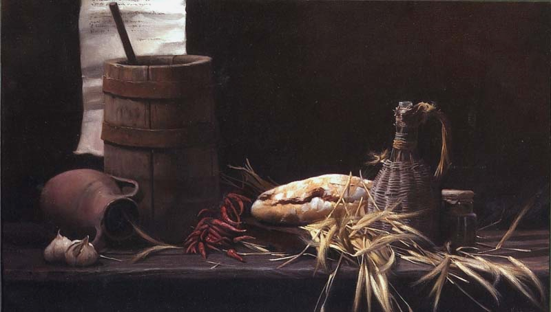 Pane e fièno    (Still life with bread and hay) oil on linen 2003 cm. 60 x 100  SOLD