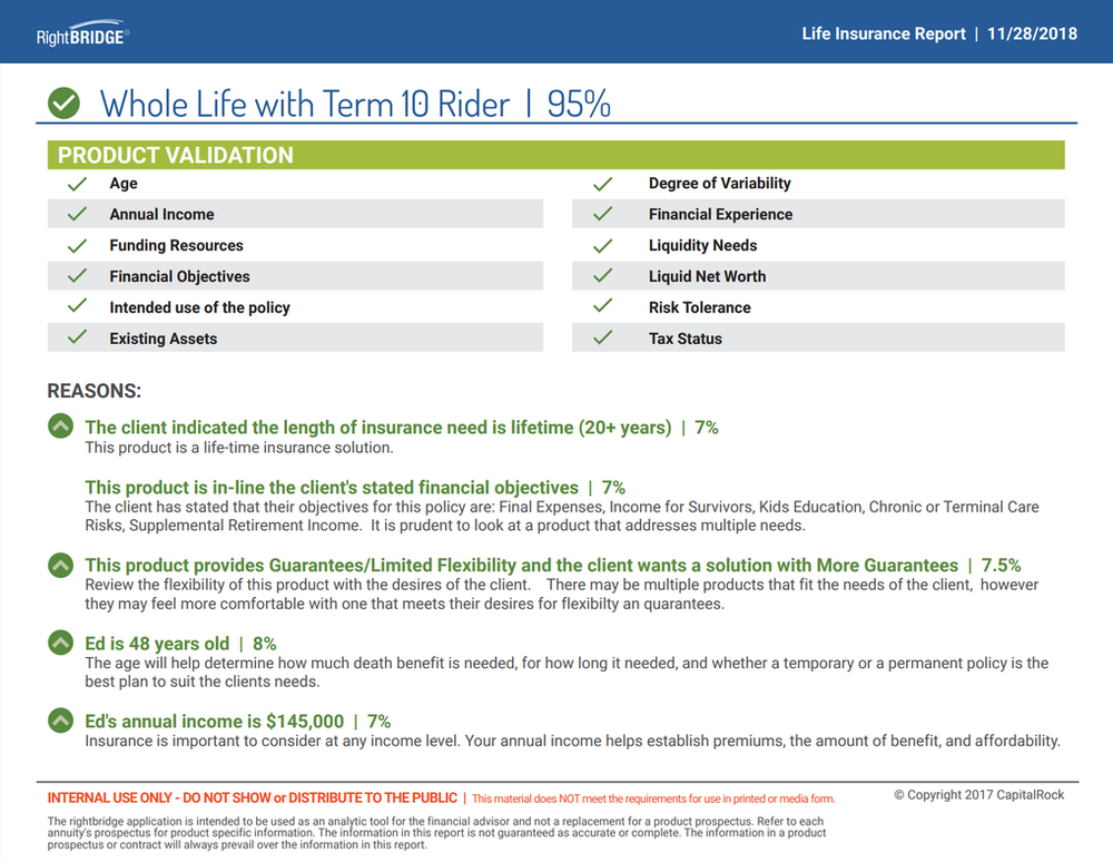 The RightBRIDGE Annuity and Life Insurance Validation Tool uses an AI engine to determine the suitability of a proposed or in-force policies in the state of New York. The solution supports new sales, replacements or changes to an existing policy.    Collects Reg 187 data elements    Provides validation scoring for proposed product    Summarizes results in validation report