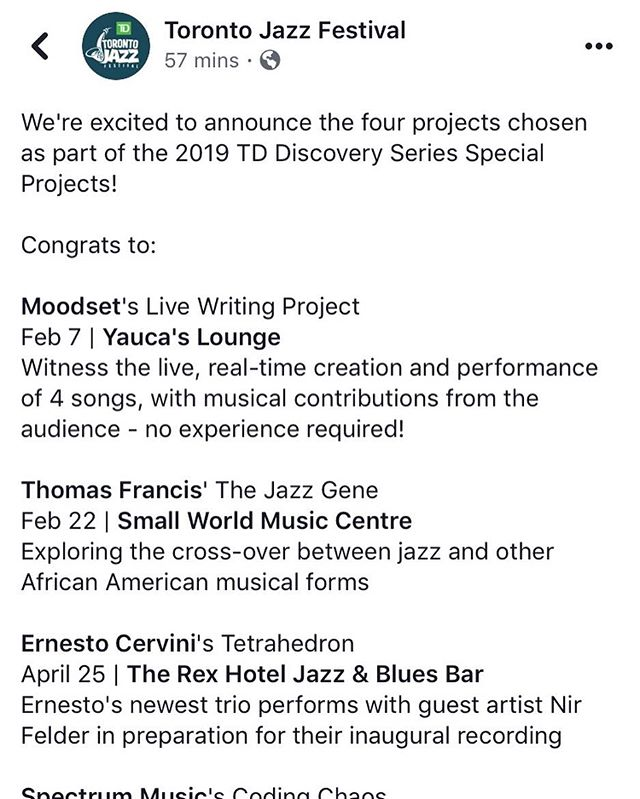 Thank you @torontojazzfest for choosing our project, we're very excited to share our music creating process!  More info to come in the new year, so stay on the lookout and happy holidays 💃🏾🕺🏻🎉