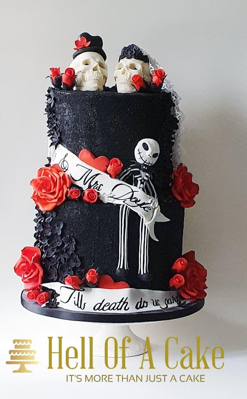 Red Velvet Wedding Cake.Black Wedding Skeleton Cake With Red Velvet Sponge Made In