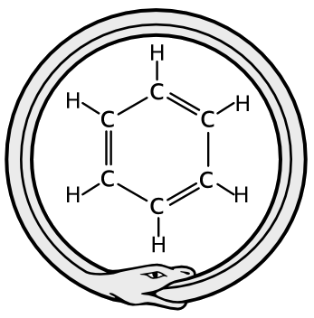 A combination of the Ouroboros image and the benzene structural diagram