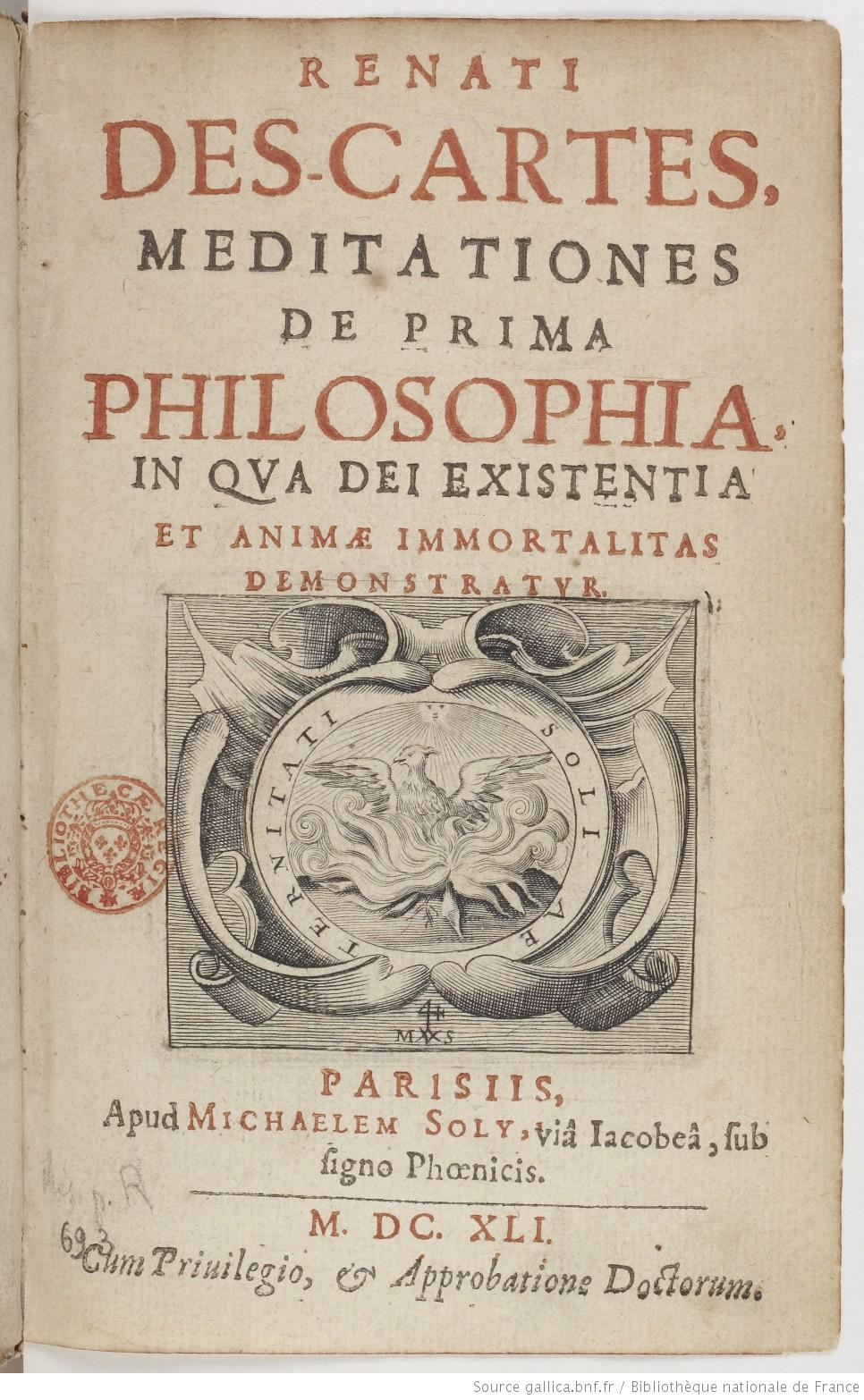 Title page of the Meditations by Descartes