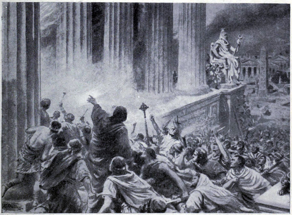 The Burning of the Library at Alexandria in 391 AD, an illustration from 'Hutchinsons History of the Nations', c. 1910