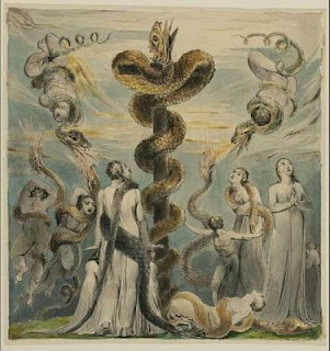 English: The brass serpent (Nehushtan) constructed by Moses and set on a pole so that
