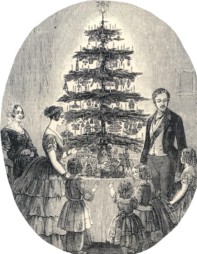 The Illustrated London News (1848) published a picture of Queen Victoria, Prince Albert, and their family around a Christmas tree topped with an angel