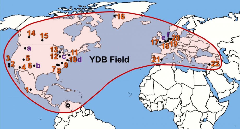 Map showing 24 sites containing Younger Dryas Boundary nanodiamonds distributed over 150 million km2 on four continents (Source:  Kinzie  et al.  2014 )