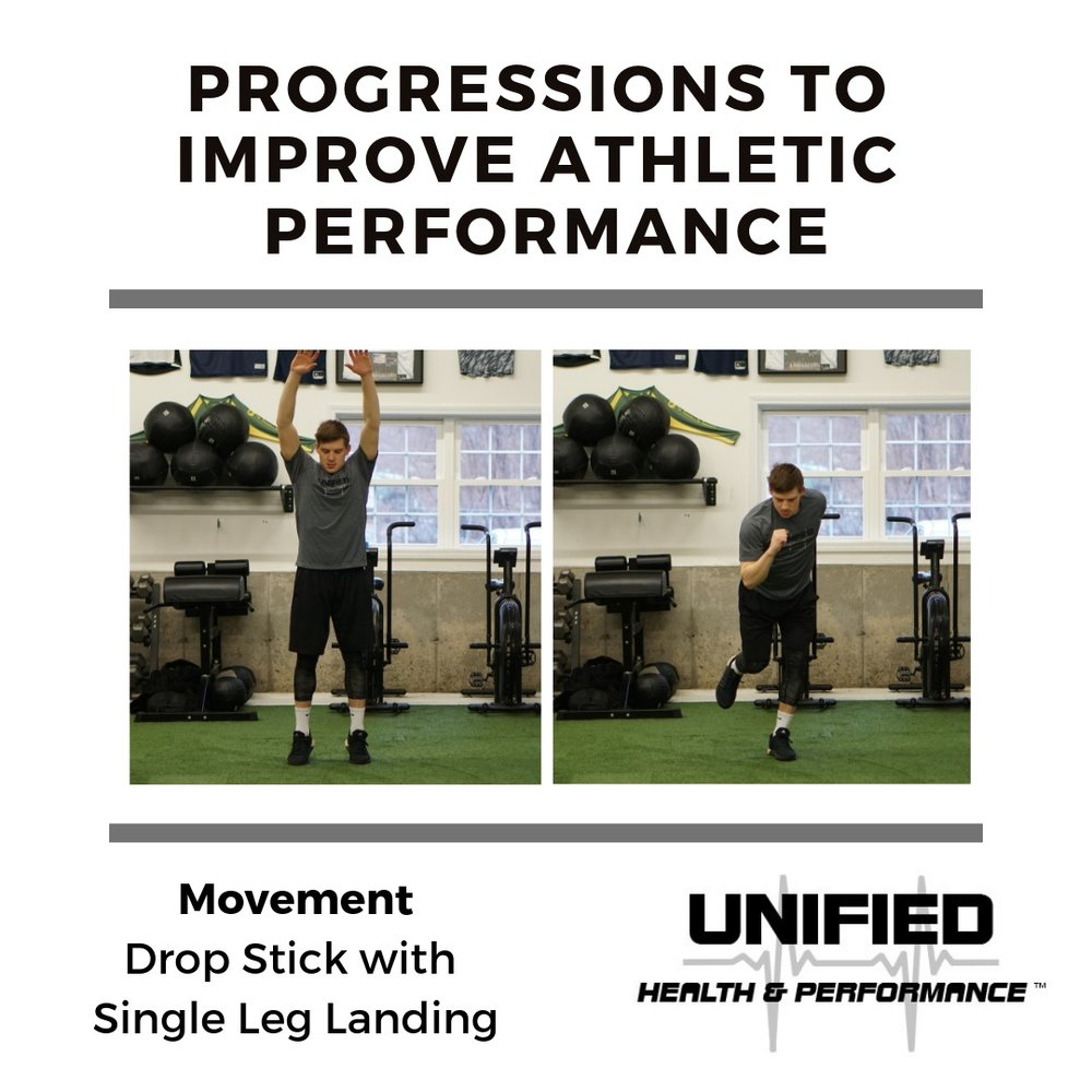 As you rise onto your toes, reach over head. In one motion, briefly leave the ground, snap your arms down to your side, and absorb the landing on one leg. Focus on the knee alignment and correct coordination of your arms.