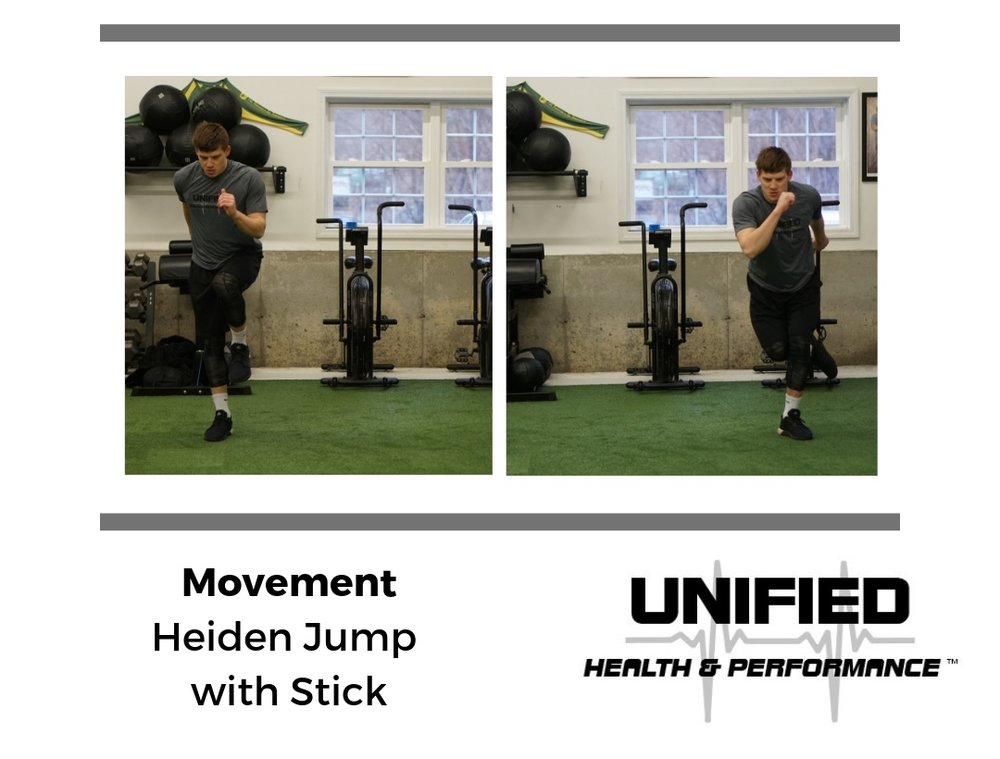 Now we progress to a more dynamic movement and transition from force expression on one leg to force absorption on the other. Initially, the emphasis will be on landing mechanics but the opportunities to progress this seemingly simple exercise are endless. A few that we commonly use are:  - Heiden Jump Double with Stick  - Heiden Jump with Med Ball  - Heiden Jump with Med Ball Chop