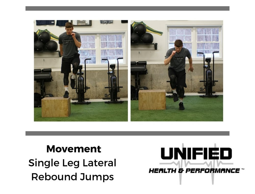 Single Leg Lateral Rebound Jumps are a plyometric exercise that can be progressed in two ways: by reducing GCT at a given height or by increasing the height of the box that you step off of and jump back up to.