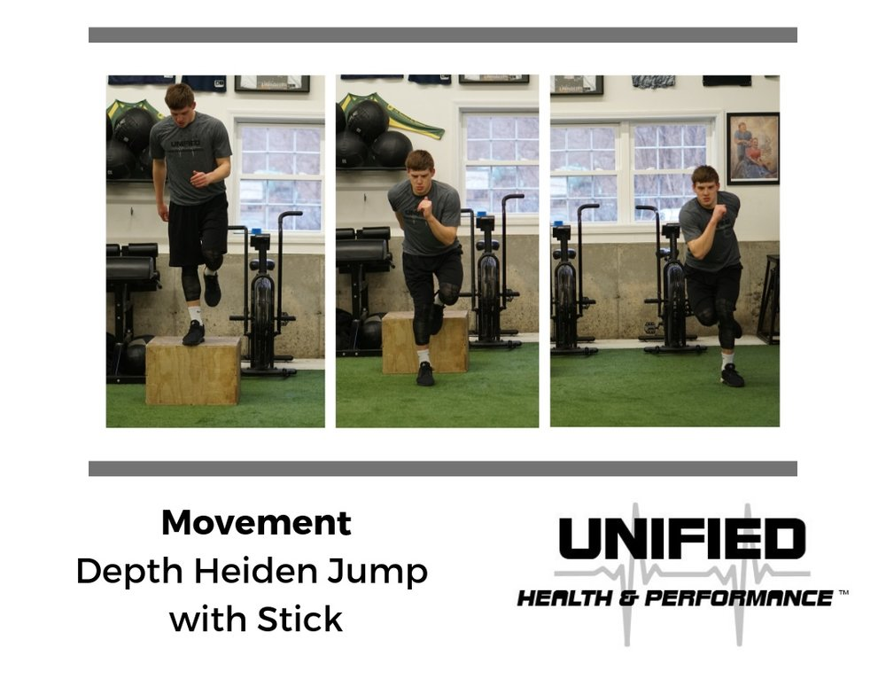 """This last variation ties several of the previous movements together. The athlete will step off of the box, absorb the landing with proper knee alignment, and quickly transition into a Heiden Jump, sticking the second landing on the opposite foot. This can be progressed by reducing GCT, by increasing the height of the box, or by performing the Heiden Jump as a """"double"""" (right to left and then left back to right)."""