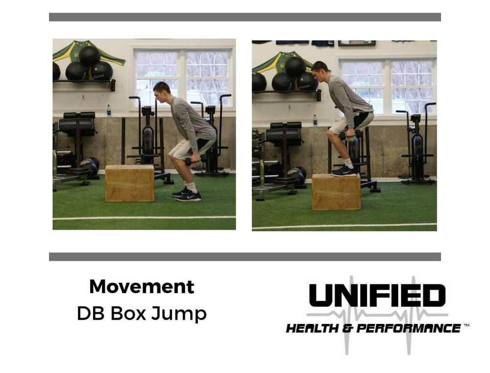 """All of the same technique cues from the """"Box Jump"""" slide apply. Hold one dumbbell in each hand. Make sure the amount of weight doesn't alter your jumping and landing mechanics."""
