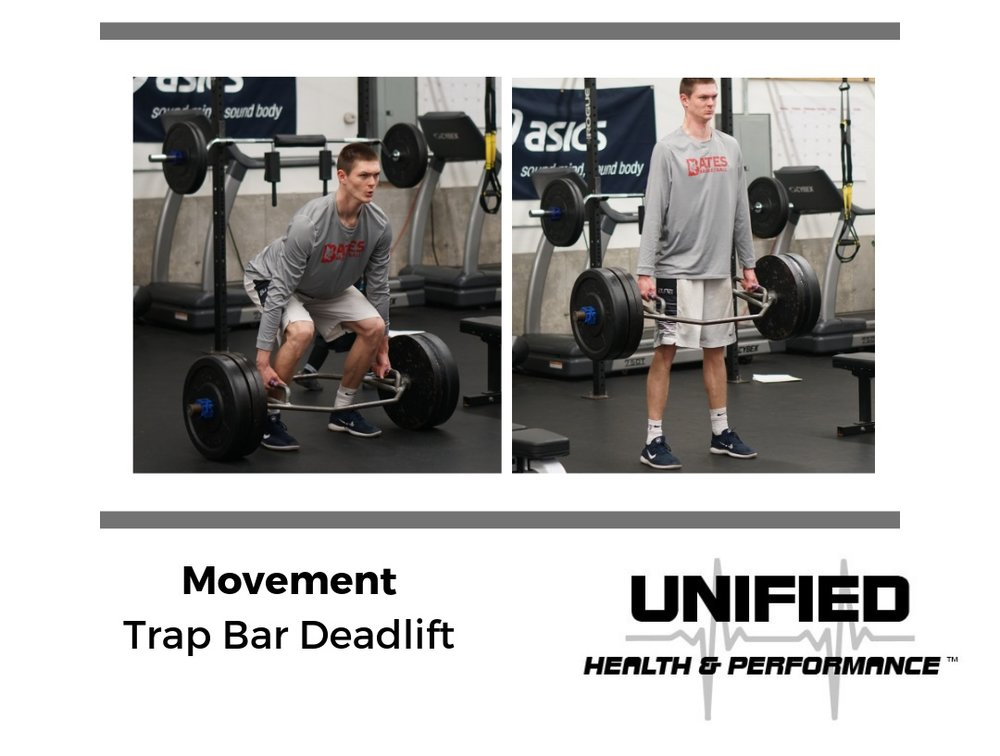 """One of our favorite compound strength movements is the Trap Bar Deadlift. You'll notice that the starting position closely resembles that of the Box Jump position and repetitions are completed by a powerful hip extension pattern. We encourage athletes to create tension by """"bending the handle"""" and gripping the floor. We want athletes to think about pushing into the floor more so than pulling the bar off of the ground."""