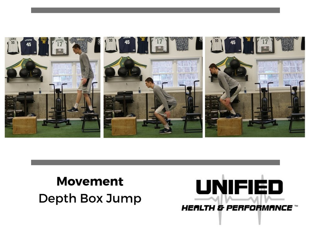 """During a Depth Box Jump an athlete steps off of the first box and quickly jumps up to the second box. Athletes are instructed to minimize ground contact time between the boxes. An athlete's strength, rate of force development, and """"elasticity"""" will determine how high the first box should be. If you notice the athlete struggling to quickly leave the ground, it is likely that the height of the first box should be reduced. However, there is merit to using shorter and higher boxes with varying degrees of ground contact time."""