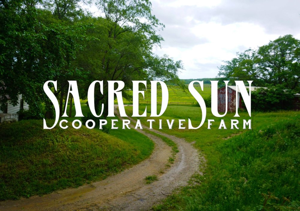 """Sacred Sun Cooperative Farm   A 100-acre organic farming community, nestled amongst the rolling hills of Jefferson County, just north of Lawrence, Kansas. Established in 2013, this young band of homesteaders works to provide a """"whole-diet CSA"""" for their table and yours."""