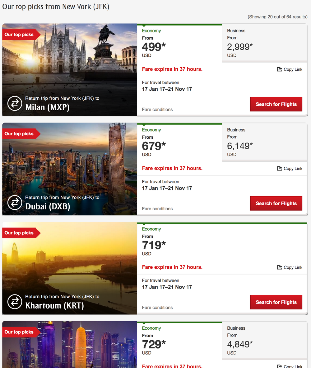 Sample Emirate's Airlines sale prices