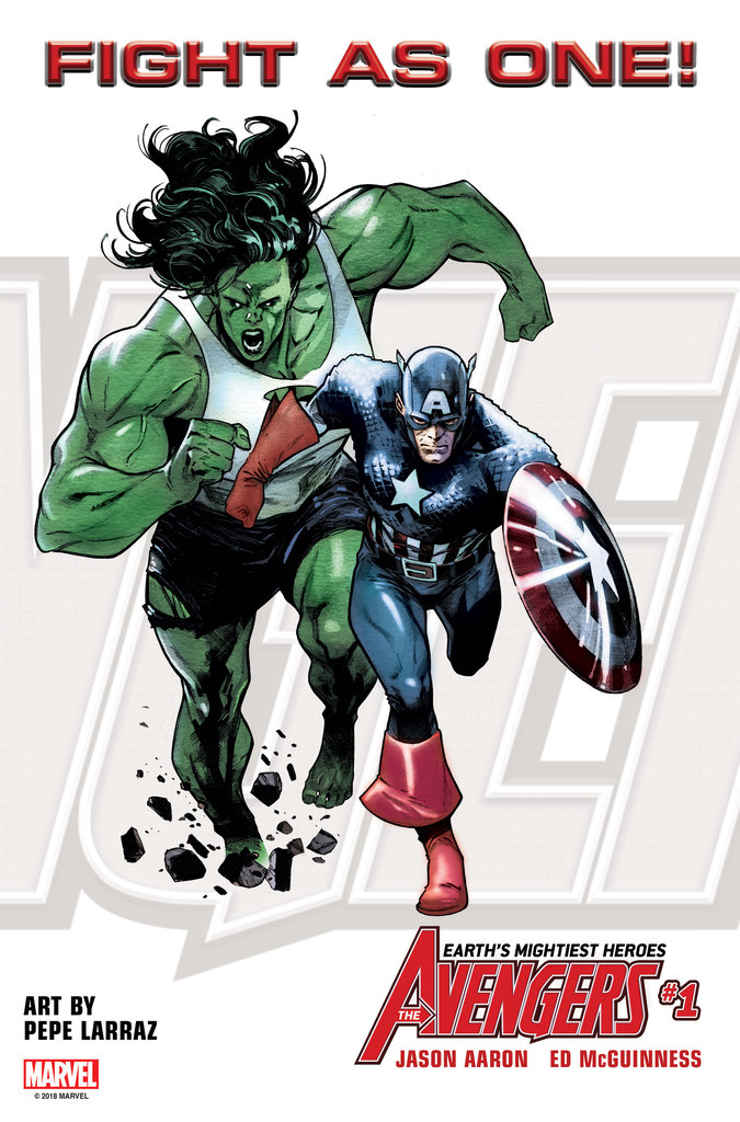Avengers #1 - Fight As One - Cap & She Hulk 2018