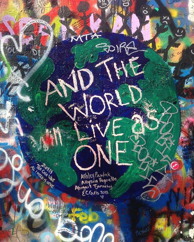 One of my favorite things about visiting Prague was being able to leave my mark on the John Lennon Wall. If you zoom in you can see my name on the right near the top of the globe. 🌍🇨🇿