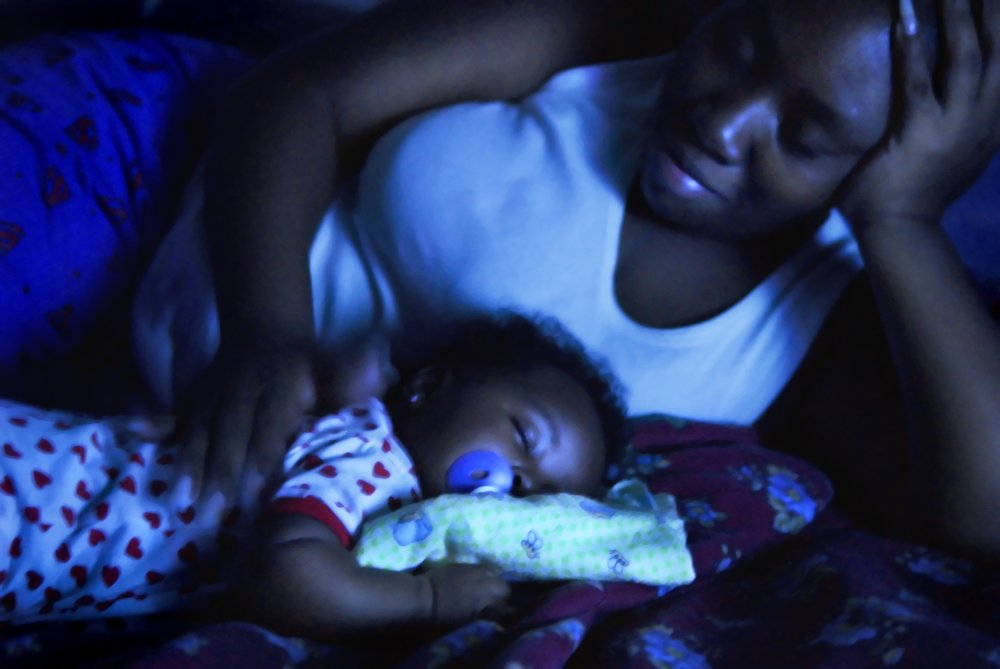 Mother and Child in Blue Light